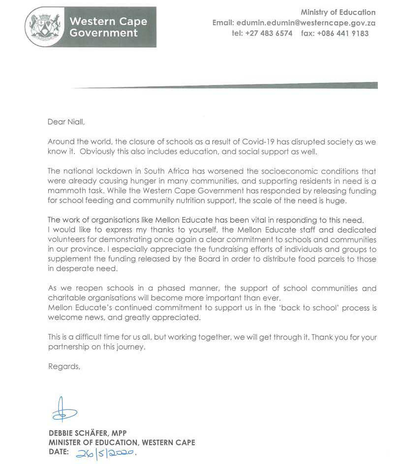Thank You Letter From Debbie Schäfer – Minister of Education, Western Cape Government
